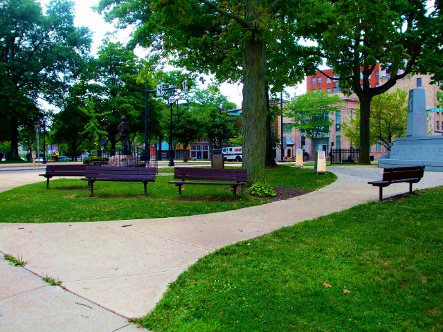 In downtown Mansfield is the park where Brooks feeds the birds after being released from prison.  The actual bench that actor James Whittmore sat on is gone; a gazebo is sitting there now.  There is a replica green bench with a Shawshank plaque on it.